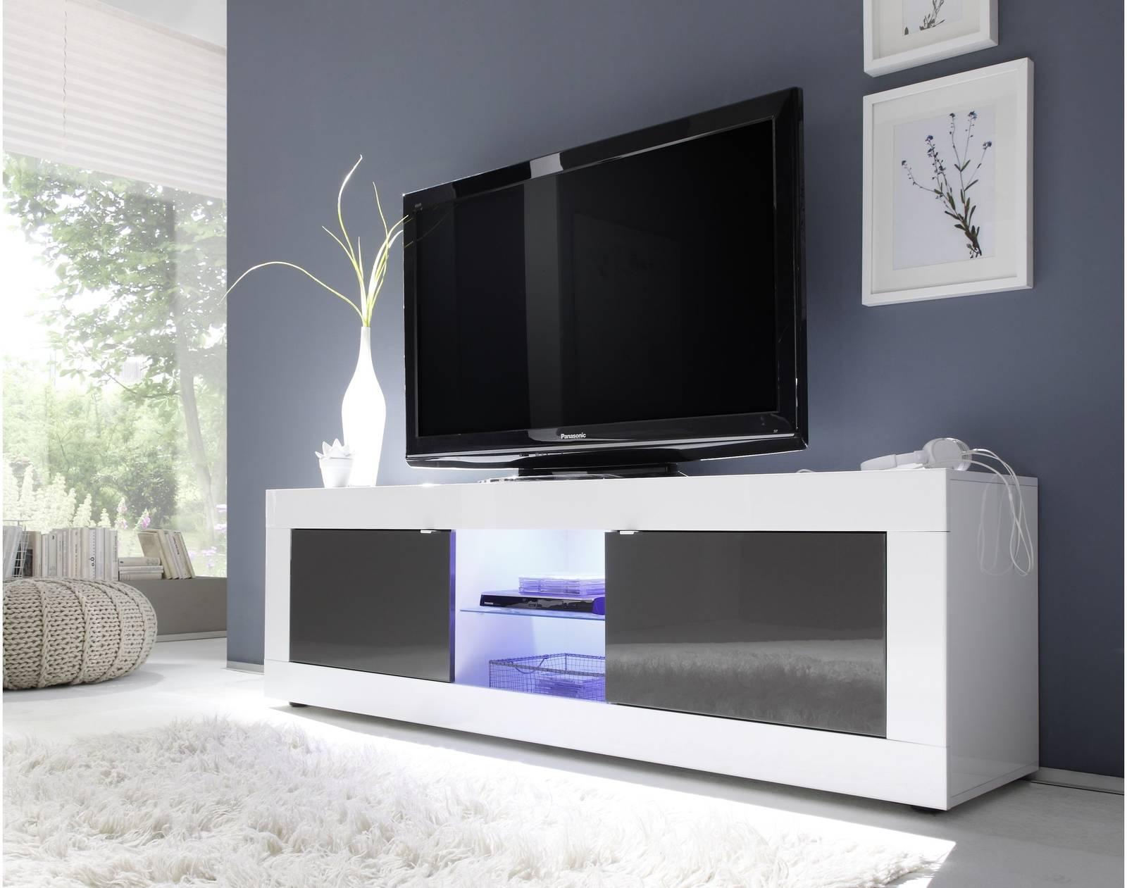 Tv Taso Moderni 181x56x43 Cm Valkoinen Antrasiitti