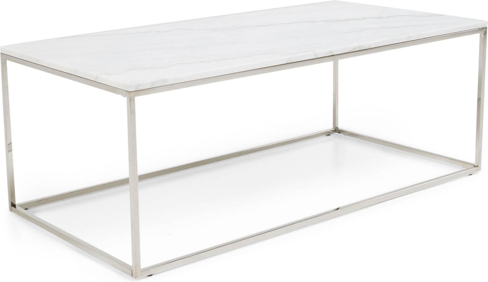 Sohvapöytä Olga 120x60x45 cm valkoinen marmori teräs teräs
