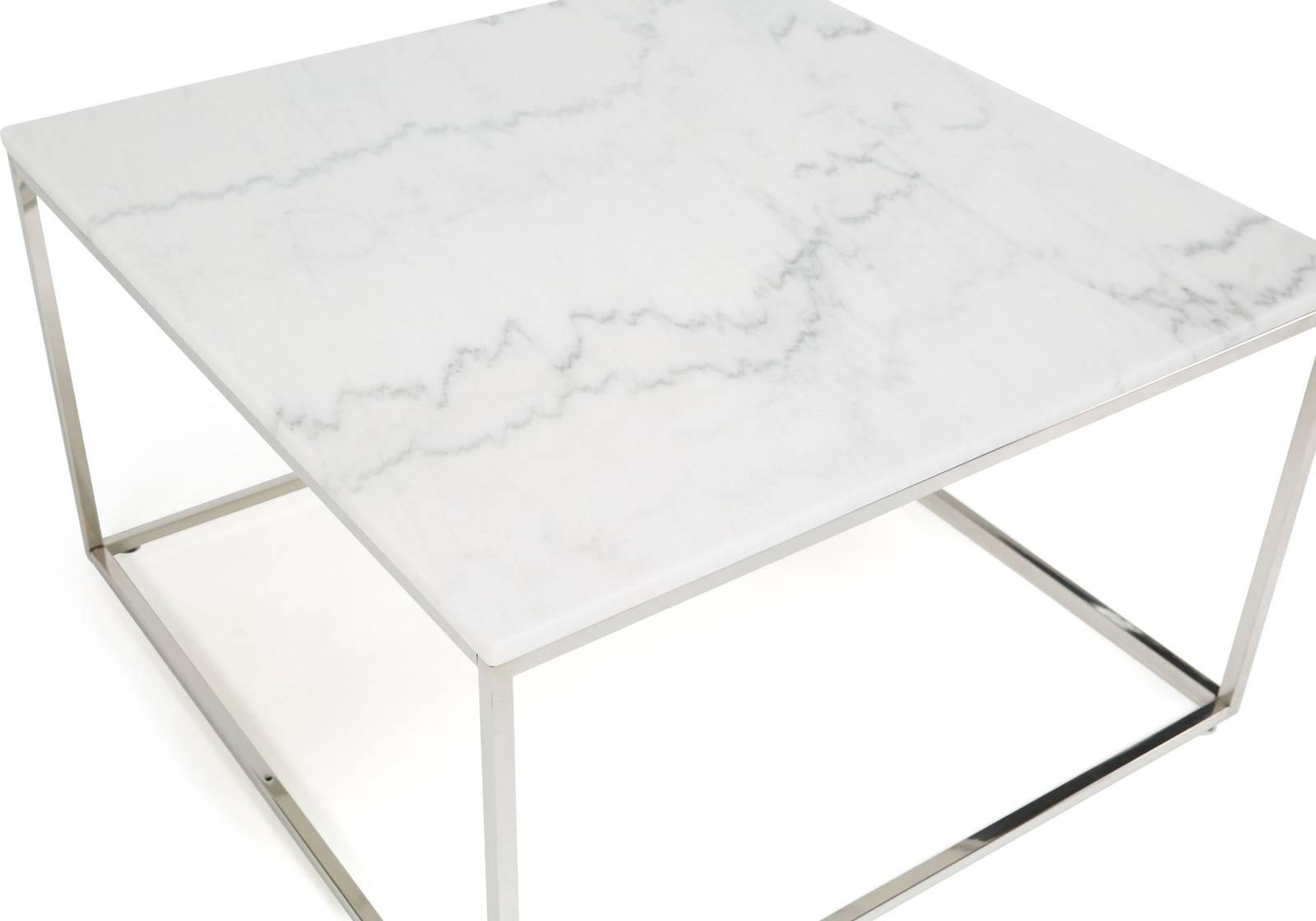 Sohvapöytä Olga 75x75x45 cm valkoinen marmori teräs teräs