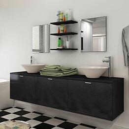10-osainen kylpyhuoneen huonekalusarja pesuallas ja hana_1