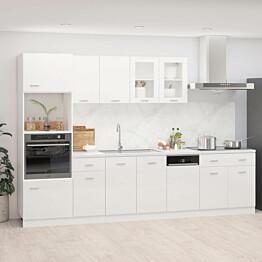7-os. keittiön kaappisarja korkeakiilto valkoinen_1