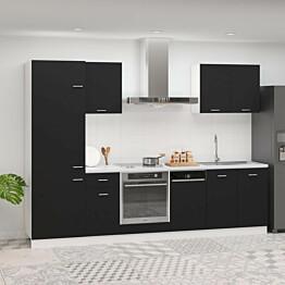7-os. keittiön kaappisarja musta lastulevy_1