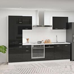 7-osainen keittiön kaappisarja korkeakiilto musta lastulevy_1