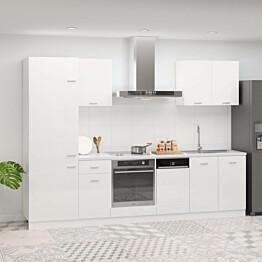 7-osainen keittiön kaappisarja korkeakiilto valkoinen_1