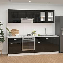 8-osainen keittiön kaappisarja korkeakiilto musta lastulevy_1