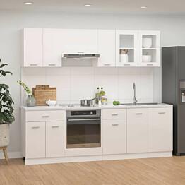 8-osainen keittiön kaappisarja korkeakiilto valkoinen_1