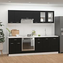 8-osainen keittiön kaappisarja musta lastulevy_1
