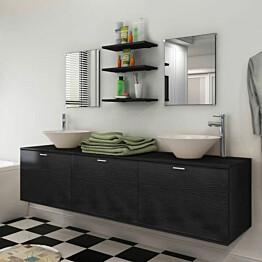 8-osainen kylpyhuoneen huonekalu ja pesuallas sarja musta_1