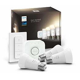 Aloituspakkaus Philips Hue White 3 x älylamppu (9,5W A60 E27) kytkin ja Hue-silta