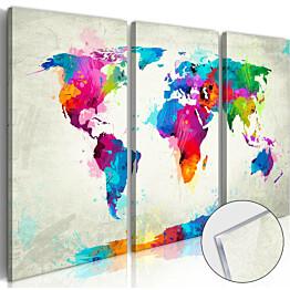 Akryylilasitaulu Artgeist World Map: An Explosion of Colours eri kokoja
