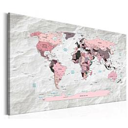Taulu Artgeist World Map: Pink Continents eri kokoja