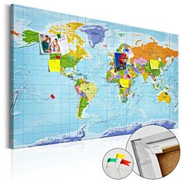 Korkkitaulu Artgeist World Map: Countries Flags, eri kokoja