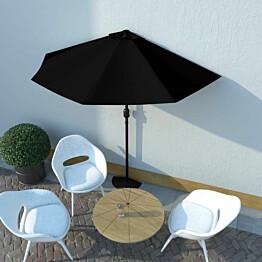 Aurinkovarjo ulkotiloihin alumiinitanko musta 270x135x245cm_1