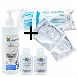 Perhepaketti Protecthis M maskit 10+2 kpl ja käsidesi 400+2x60 ml