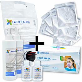 Perhepaketti Protecthis XL maskit 50+10 kpl ja käsidesi 2x400+2x60 ml + täyttö 1,5 l