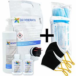 Perhepaketti Protecthis L maskit 10+2 kpl ja käsidesi 400+2x60 ml + täyttö 1,5 l