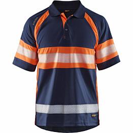 Huomiopikeepaita Blåkläder 3338 Highvis mariininsininen/huomio-oranssi
