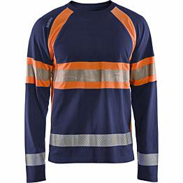 Pitkähihainen t-paita Blåkläder 3510 Highvis mariininsininen/huomio-oranssi