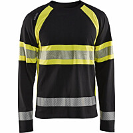 Pitkähihainen t-paita Blåkläder 3510 Highvis musta/huomiokeltainen