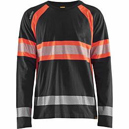 Pitkähihainen t-paita Blåkläder 3510 Highvis musta/huomiopunainen