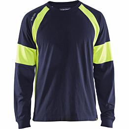 Pitkähihainen t-paita Blåkläder 3520 mariininsininen/keltainen