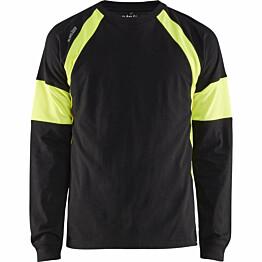 Pitkähihainen t-paita Blåkläder 3520 musta/keltainen