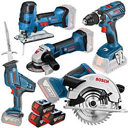 Akkukonesetti Bosch Professional GSR+GST+GWS+GKS+GSA 18V Toolbag 3x4 Ah akuilla