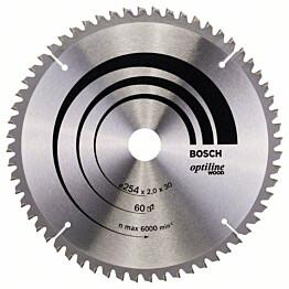Pyörösahanterä Bosch Optiline Wood 254x2,0x30 mm 60T