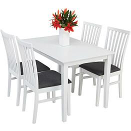 Ruokailuryhmä Annikki Arja tuoleilla 4 tuolia valkoinen