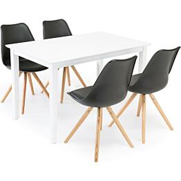 Ruokailuryhmä Aaron/Annikki valkoinen/musta/tammi 4 tuolia