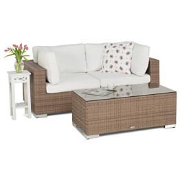 Oleskeluryhmä Bahamas 2-istuttava sohva + sohvapöytä hiekka/valkoinen