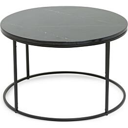 Sohvapöytä Olga Ø 80x50 cm musta marmori/teräs mustilla jaloilla