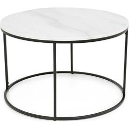 Sohvapöytä Olga Ø 80x50 cm valkoinen marmori/teräs mustilla jaloilla