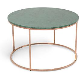 Sohvapöytä Olga Ø 80x50 cm vihreä marmori/kupari