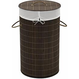 Bambu pyykkikori pyöreä tummanruskea_1