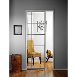 Liukuovi seinän sisään Stella Pocket Door M12 ristikko 1225x2040mm alumiini
