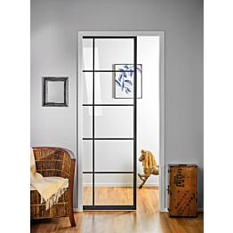 Liukuovi seinän sisään Stella Pocket Door M12 ristikko 1225x2040mm musta
