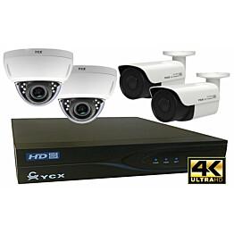 Valvontakamerajärjestelmä YCX sis. tallennin 1 TB + 4 IP-kameraa