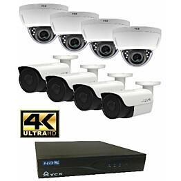 Valvontakamerajärjestelmä YCX sis. tallennin 1 TB + 8 IP-kameraa