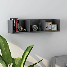 Cd-seinähylly korkeakiilto harmaa 75x18x18 cm lastulevy_1