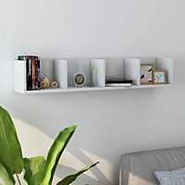Cd-seinähylly korkeakiilto valkoinen 100x18x18 cm lastulevy_1
