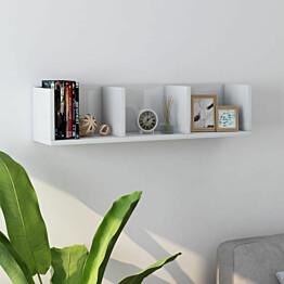 Cd-seinähylly korkeakiilto valkoinen 75x18x18 cm lastulevy_1