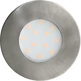 LED-alasvalo Eglo Pineda-IP ulkokäyttöön Ø7,8cm harjattu teräs