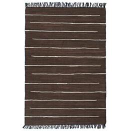 Chindi-matto 200x290cm käsinkudottu puuvilla ruskea valkoisilla raidoilla