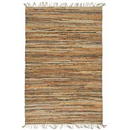 Chindi-matto 190x280cm käsinkudottu nahka/juutti kellanruskea