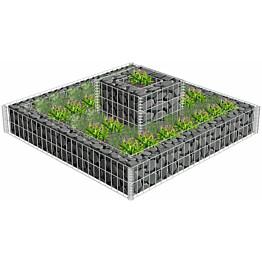 Kivikori/kukkalaatikkokehys, galvanoitu teräs, 120x120x20cm