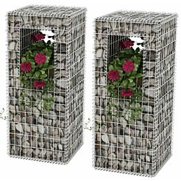 Kivikori-/kukkalaatikkopylväs, 2kpl, teräs, 50x50x120cm