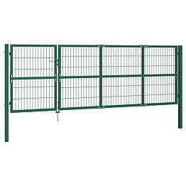 Puutarha-aidan portti tolpilla, 350x120cm, teräs, vihreä