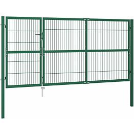 Puutarha-aidan portti tolpilla, 350x140cm, teräs, vihreä