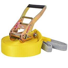 Slackline/tasapainoliina 15mx50mm, 150 kg, keltainen